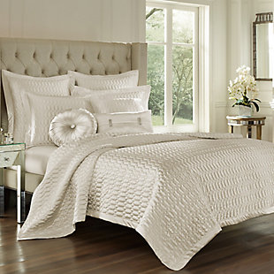 Geometric Full/Queen Coverlet, Natural, large