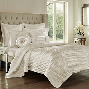 Geometric Full/Queen Coverlet, Natural, rollover