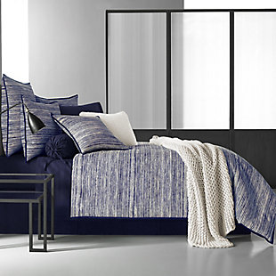 Brushed Cotton 4-Piece Queen Comforter Set, Indigo, rollover