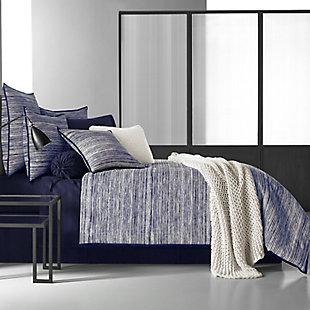 Brushed Cotton 4-Piece Queen Comforter Set, Indigo, rollover