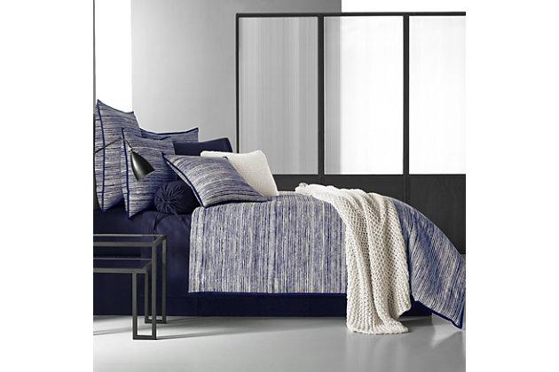 Brushed Cotton 4-Piece Queen Comforter Set, Indigo, large