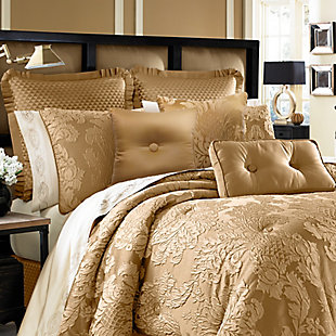 Woven Jaquard 4-Piece Queen Comforter Set, Gold, large