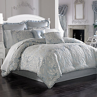 Woven Jaquard 4-Piece Queen Comforter Set, French Blue, rollover