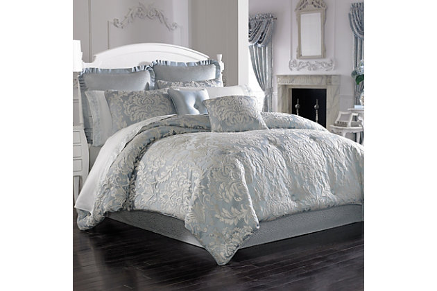Woven Jaquard 4-Piece Queen Comforter Set, French Blue, large