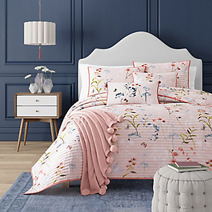 Floral Full/Queen Coverlet, Rose, rollover
