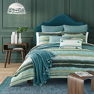Striped 3-Piece Full/Queen Comforter Set, Forest, rollover