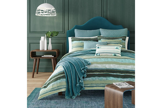 Striped 3-Piece Full/Queen Comforter Set, Forest, large