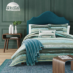 Striped Full/Queen Coverlet, Forest, large