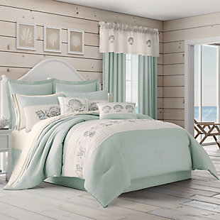Sea Shell 4-Piece Queen Comforter Set, Aqua, large