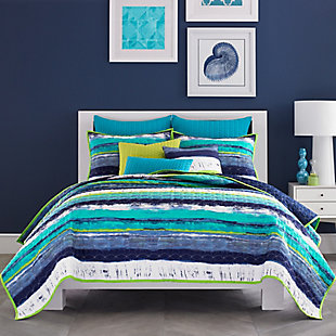 Watercolor Full/Queen Coverlet, Teal, large
