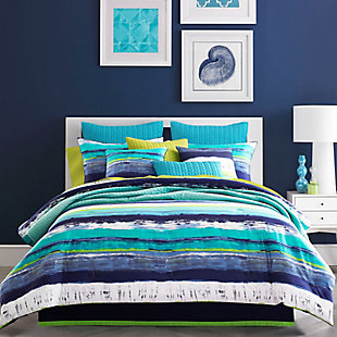 Watercolor 4-Piece Queen Comforter Set, Teal, rollover