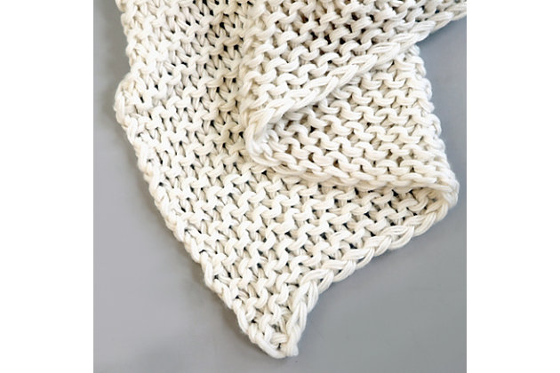 Knitted Throw, Ivory, large