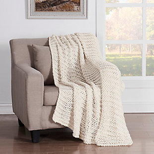 Knitted Throw, Ivory, rollover