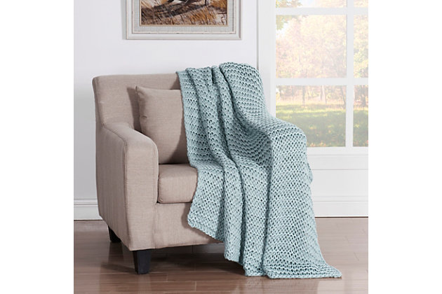 Knitted Throw, Aqua, large