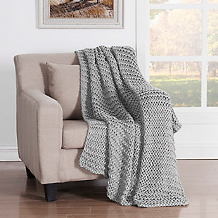 Knitted Throw, Ash, large