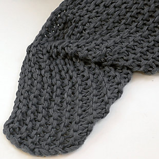 Knitted Throw, Black, large