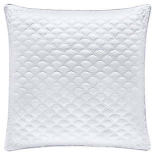 "Quilted 20"" Square Throw Pillow, White, large"