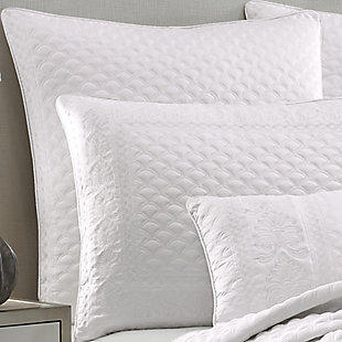 Quilted Square Euro Sham, White, rollover