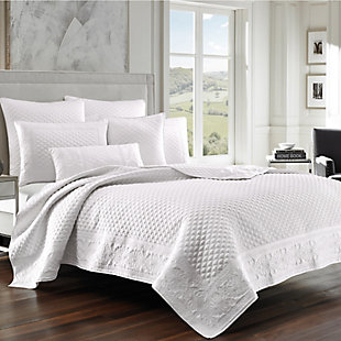 Quilted Full/Queen Coverlet, White, rollover