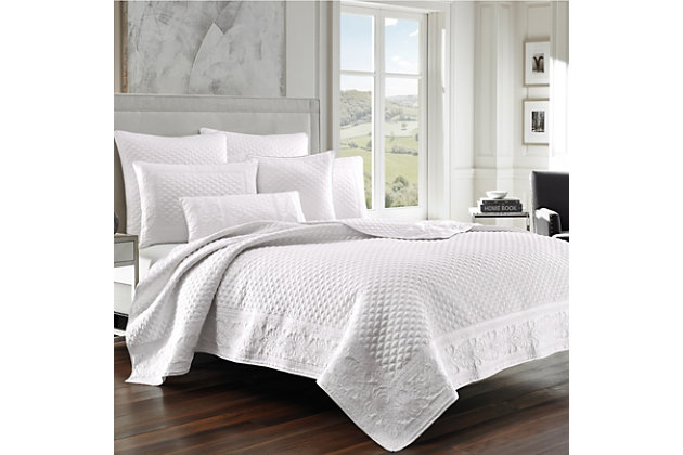 Quilted King Coverlet, White, large