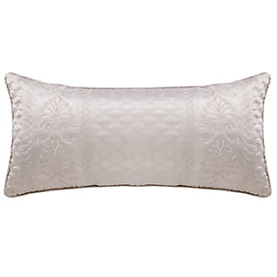 Quilted Boudoir Throw Pillow, Silver, large