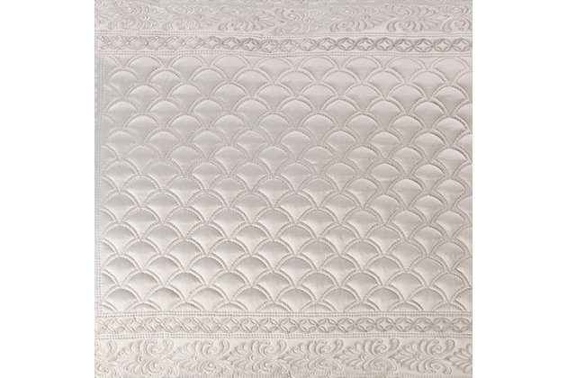 Quilted Full/Queen Coverlet, Silver, large