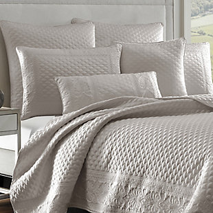 Quilted King Coverlet, Silver, large