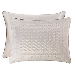 Quilted King Euro Sham, Silver, large