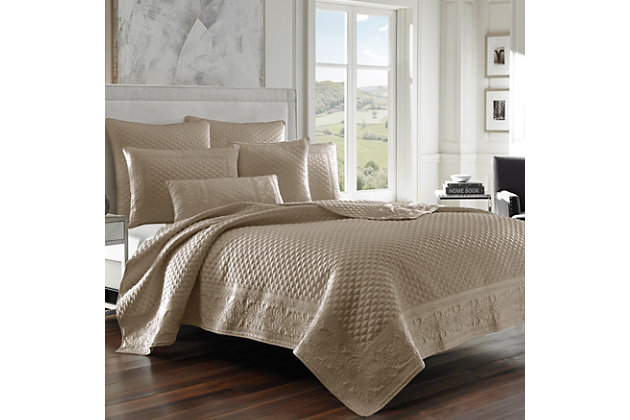 Quilted Full/Queen Coverlet, Taupe, large