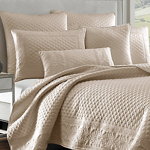 Quilted King Coverlet, Pearl, large