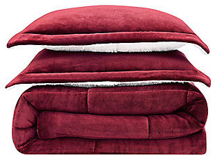 Velvet 3-Piece Full/Queen Comforter Set, Maroon, large