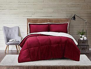 Velvet 3-Piece King Comforter Set, Maroon, rollover