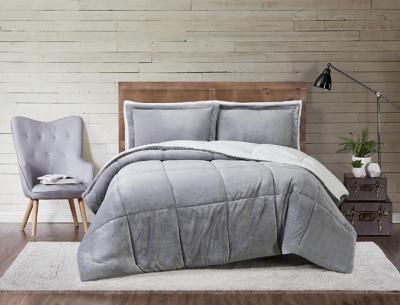 Velvet 3-Piece Full/Queen Comforter Set, Gray, large