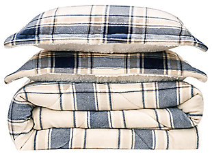 Plaid 3-Piece Full/Queen Comforter Set, Blue/Gray, large