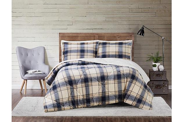 Plaid 3-Piece Full/Queen Comforter Set, Blue/Gray, large