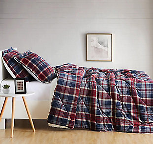 Plaid 3-Piece Full/Queen Comforter Set, Blue, large