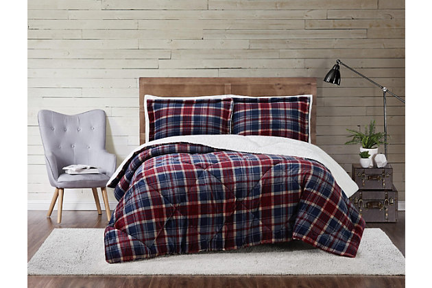Plaid 3-Piece Full/Queen Comforter Set, Blue/Red, large