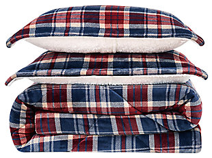 Plaid 3-Piece King Comforter Set, Blue, large