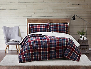 Plaid 3-Piece King Comforter Set, Blue, rollover