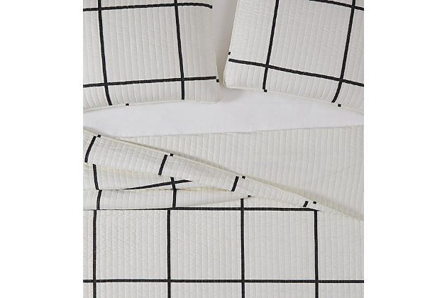 Geometric 3-Piece Full/Queen Quilt Set, Ivory, large