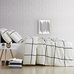 Geometric 3-Piece Full/Queen Comforter Set, Ivory, large