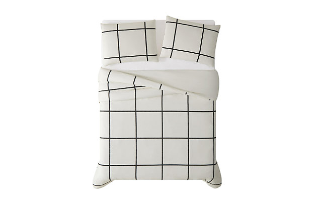 Geometric 3-Piece Full/Queen Duvet Set, Ivory, large