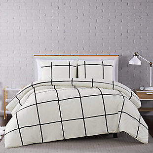 Geometric 3-Piece Full/Queen Duvet Set, Ivory, rollover