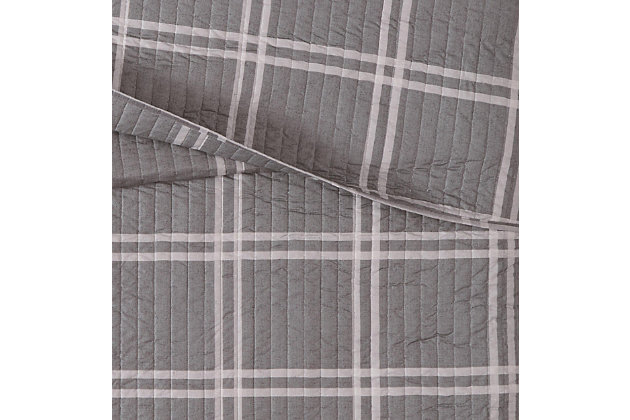 Plaid 3-Piece Full/Queen Quilt Set, Gray, large