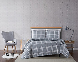 Plaid 3-Piece Full/Queen Quilt Set, Gray, rollover
