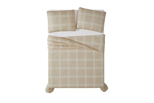 Plaid 3-Piece Full/Queen Quilt Set, Khaki, large
