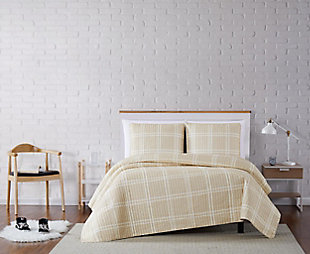 Plaid 3-Piece Full/Queen Quilt Set, Khaki, rollover