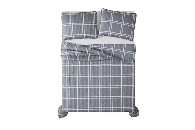 Plaid 3-Piece Full/Queen Quilt Set, Gray, large