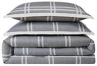 Plaid 3-Piece Full/Queen Comforter Set, Gray, large