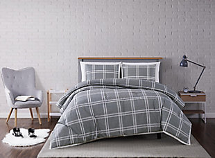 Plaid 3-Piece Full/Queen Comforter Set, Gray, rollover